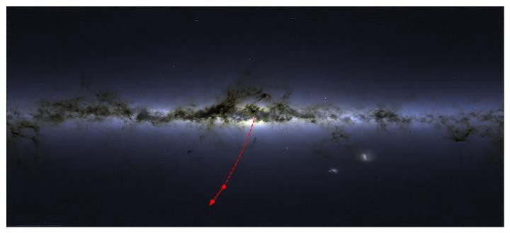 Расположение S5-HVS1 на небе и направление его движения. Звезда улетает от центра галактики, откуда она была выброшена 5 миллионов лет назад. (Сергей Копосов)