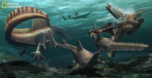Spinosaurus aegyptiacus - первый известный водный динозавр