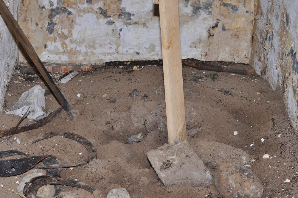 Земляная насыпь, почти покинутая муравьями, на дне бункера зимой, через четыре месяца после установки дощатого настила. «Кладбища муравьев» видны вокруг насыпи и рядом со стенами.