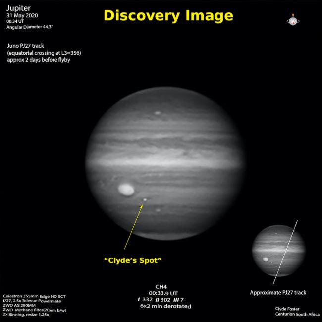 Фотография Юпитера, сделанная Клайдом Фостером. Новый шторм расположен чуть ниже и справа от Большого Красного Пятна.