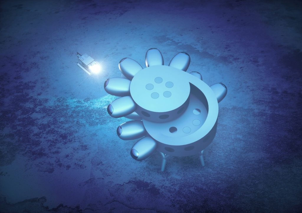 Вид сверху на предлагаемую подводную базу Фабьена Кусто, Протеус